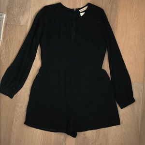 Long sleeve silky black romper